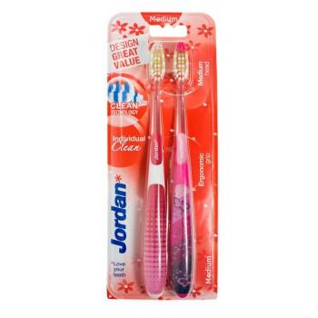 Jordan Szczoteczka do zębów DUO Individual Clean Medium - mix kolorów  1 op-2szt